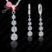 Exqusite Long Crystal Earrings Pendant Necklace Jewelry Set Shiny Zircon Crystal 925 Sterling Silver Top Quality Wedding Bijou(China)