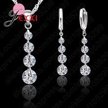Earrings Jewelry-Set Necklace Crystal Wedding-Bijou 925-Sterling-Silver Pendant Zircon