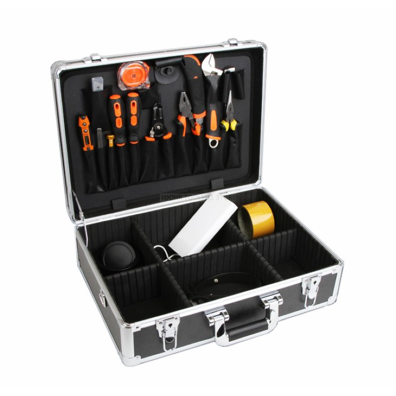 Aluminum Tool Case Metal Toolbox Impact Resistance Electrician Instrument Equipment Box With Adjust The Insert & Shoulder Strap