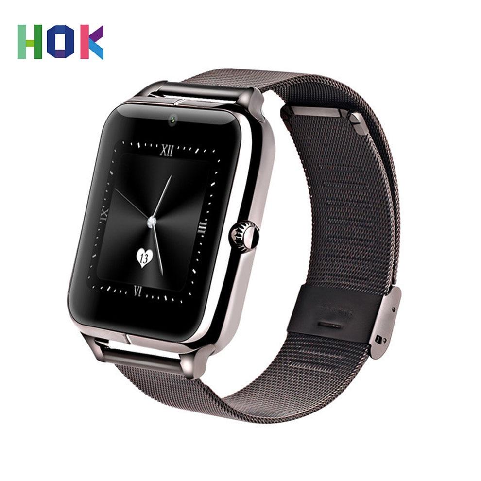 imágenes para HOK Inteligentes Hombres Reloj Android Bluetooth Con soporte de La Tarjeta SIM TF para ISO Android Z60 Z50 GT08 Smartwatch de Oro de Los Hombres Reloj de Pulsera