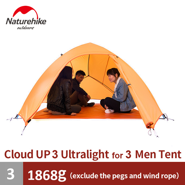 Naturehike Tent Camping Tent Ultralight 1 2 3 Person Man 4 Season Double Layers Aluminum Rod Outdoor Travel Beach Tent With Mat