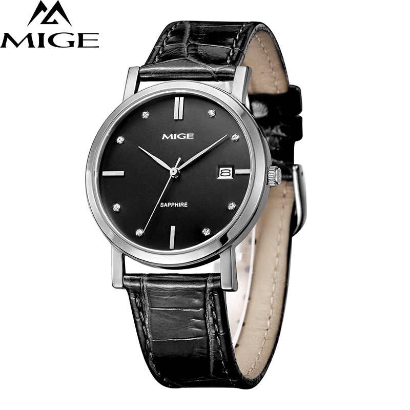 Mige 2017 New Hot Sale Brand Man Clock White Steel Cace Black Brown Leather Strap Couples Watch Waterproof Quartz Mans Watches mige 2017 new hot sale top brand lover watch simple white dial steel case man watches waterproof quartz mans wristwatches