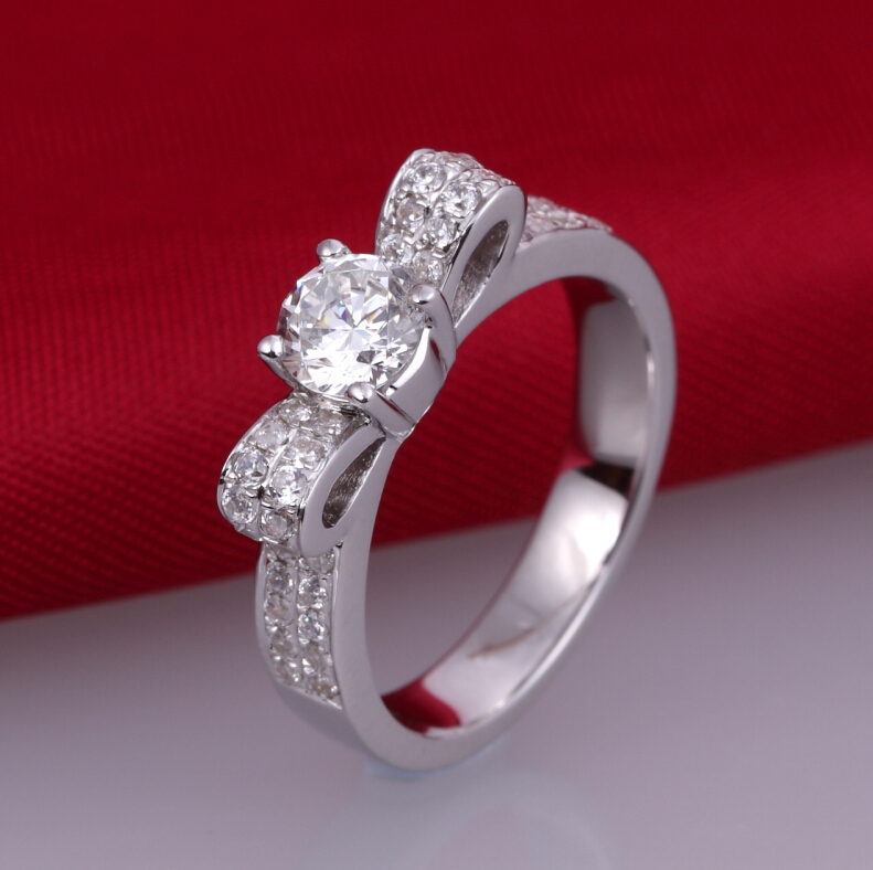 0.5 carat SONA synthetic diamond fashion ring 925 sterling silver creative bowknot ring wedding ring (DFE)