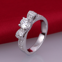 0 5 Carat SONA Synthetic Diamond Fashion Ring 925 Sterling Silver Creative Bowknot Ring Wedding Ring
