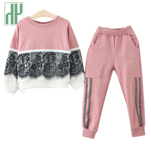 HH Girls Clothes Fall spring children clothing lace hoodies girl tracksuits costume casual kids sport suits boutique outfits set недорого