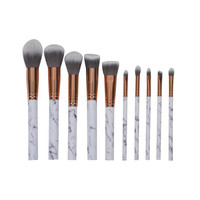 10Pcs Marble Stripe Makeup Brushes Set Pro Cosmetic Brush Kits Eyeshadow Powder Foundation Blending Marbling Blusher