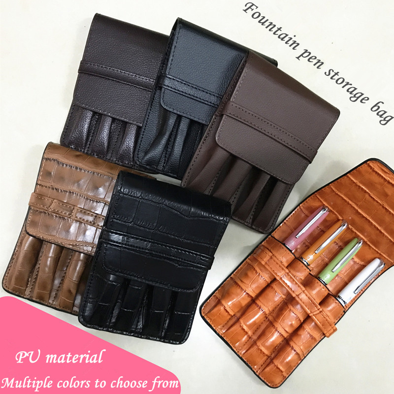 HOLDER FOR 4 PEN Case Luxury Coffee and orange options Leather Pencil Case/Bag For Roller Ball Pen / Fountain Pen /Ballpoint PenHOLDER FOR 4 PEN Case Luxury Coffee and orange options Leather Pencil Case/Bag For Roller Ball Pen / Fountain Pen /Ballpoint Pen