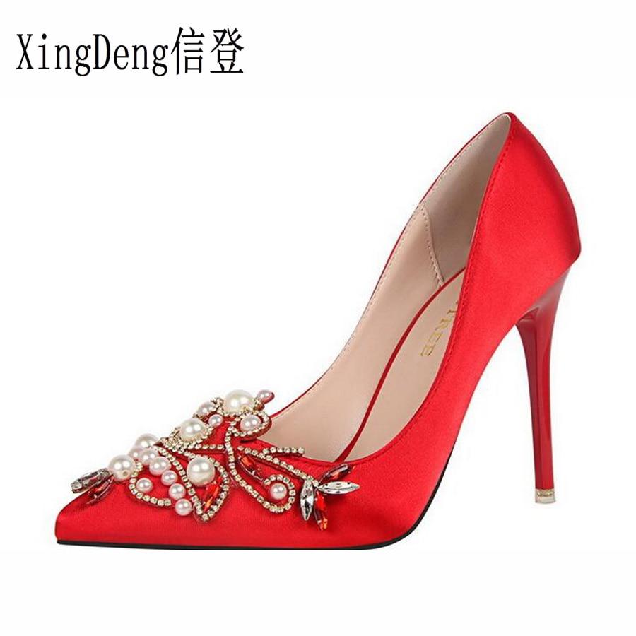 XingDeng Lady Satin Design Dress Stilettos Shoes Women Sexy Rhinestone Pearl Wedding Party Sexy High Heels Pumps Shoes