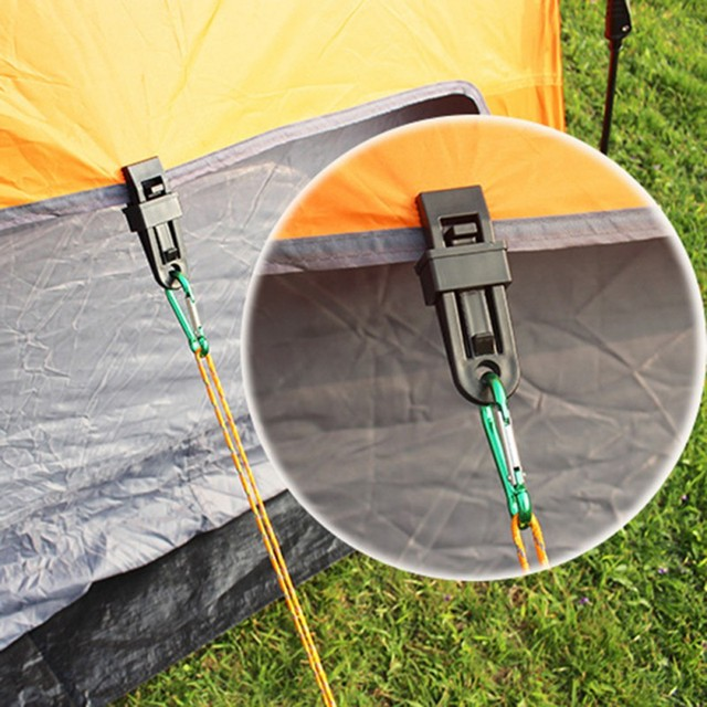 Hot 6 PCS Tents 8.2 * 3.1 cmAwning Wind Rope Clamp Awnings Outdoor Camping Travel Plastic Clip Clip Tents Awning Accessories