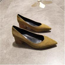 EOEODOIT Women Pointed Toe Slip On Pumps Med Square Heel Spring Summer Sexy V Mouth Casual Office Lady OL Shoes 5 CM