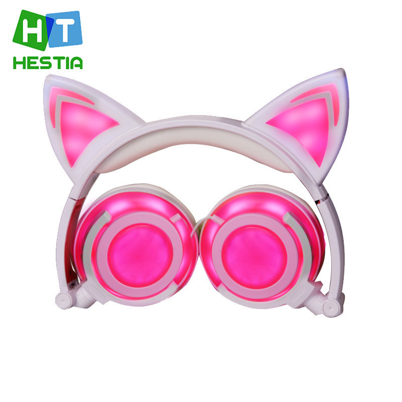 HESTIA Foldable Stereo Gaming Cat Ear Headphones Beautiful Girl Gift Headset Glowing Flashing Wired Headphone For PC Smart Phone cartoon cat ear headphone flashing glowing cosplay cat ear headphones foldable gaming headsets earphone with mic for girl gift page 5