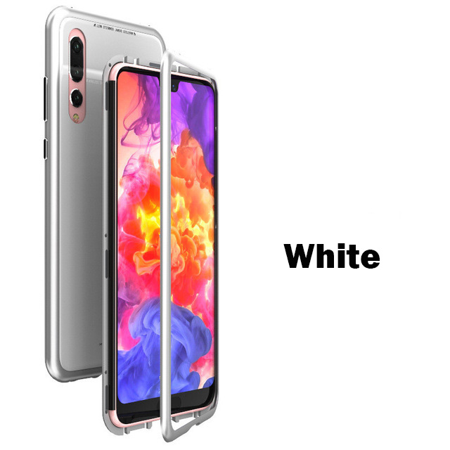 Magnetic-Adsorption-Case-for-Huawei-P20-P20-Pro-9H-Tempered-Glass-Back-Cover-Luxury-Metal-Aluminum