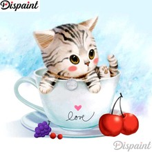 Dispaint Full Square/Round Drill 5D DIY Diamond Painting Cat teacup scenery 3D Embroidery Cross Stitch 5D Home Decor A11152 dispaint full square round drill 5d diy diamond painting teacup bird scenery 3d embroidery cross stitch 5d home decor a18408