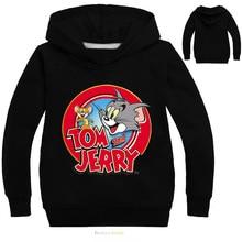 Kids Hoodies Tom and Jerry Print Boys Sweatshirt Long Sleeve Jacket Costumes Clothes Shirts Childrens Sweatshirts