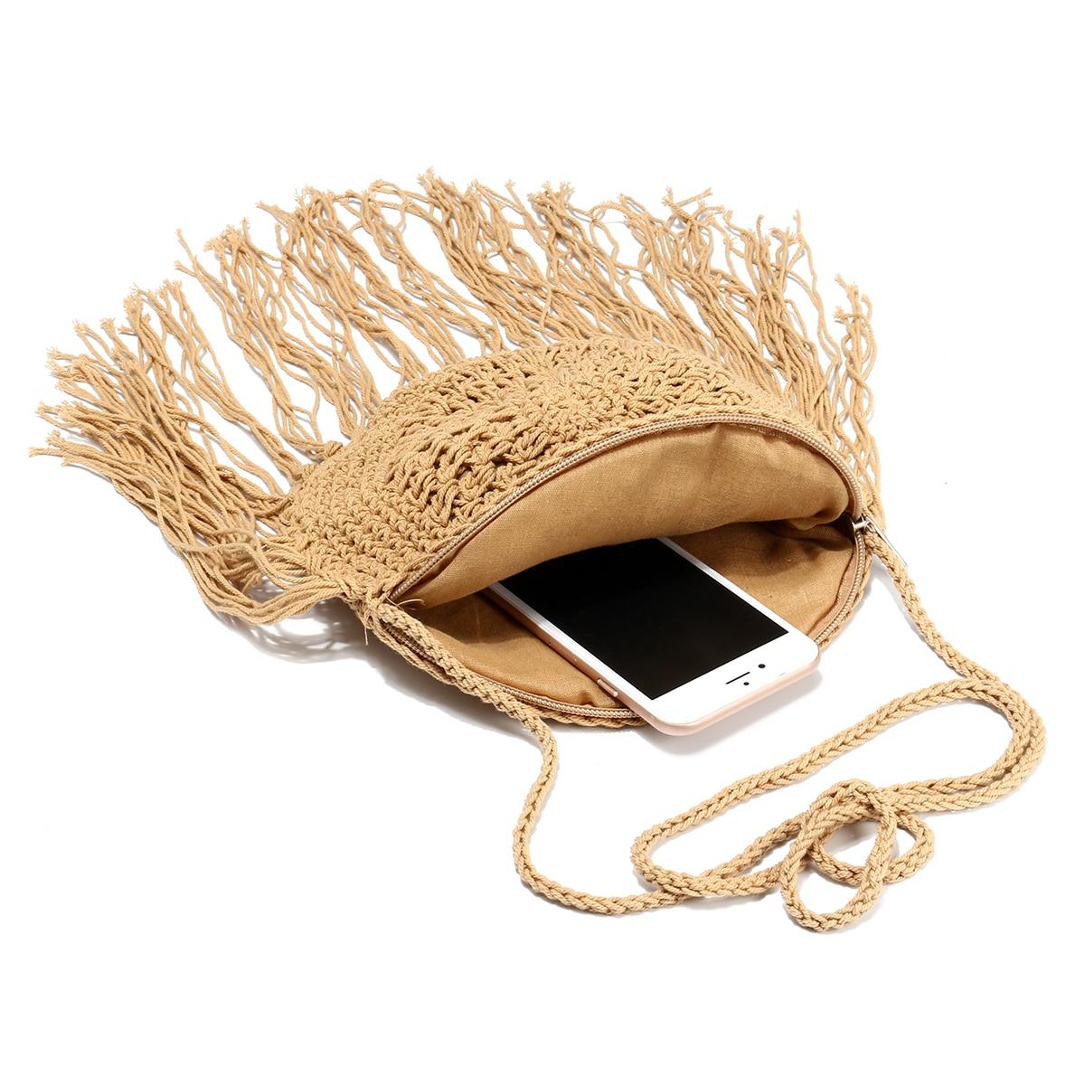 Round Straw Bag with Fringe Tassel 3