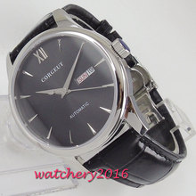 цена 40mm Corgeut Black Dial Stainless steel Case Top Brand leather strap Japan 21 Jewels Miyota Automatic movement men's Watch онлайн в 2017 году