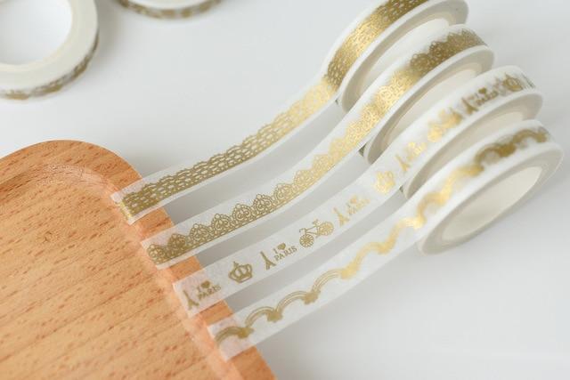 Kawaii papel de oro Washi cinta pegatinas Scrapbooking cinta adhesiva decorativa cinta adhesiva para la Oficina de la escuela papelería