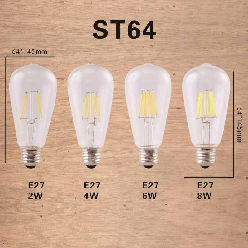 Светодиодная лампа E27 E14 2W 4W 6W 8W Винтаж Эдисон лампы A60 ST64 C35 G45 G95 G125 AC220V прозрачный Стекло нити светильник в стиле ретро лампы