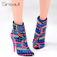 11.11 Sinsaut Shoes Women Winter Boots Fuchsia Sequined Cloth High Heels Ankle Boots for Women Trending Ponted Toe Warm Boots