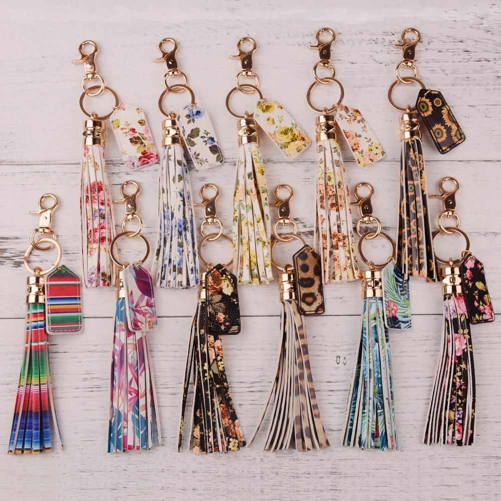 Rainbery 2019 multicolorido monograma couro borla feminino chaveiro saco pingente liga carro chaveiro titular anel retro jóias