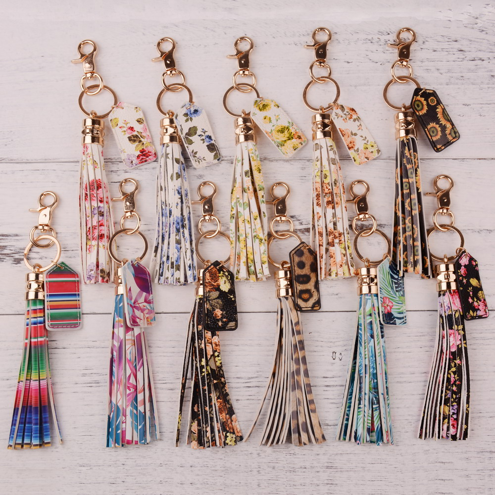 Rainbery 2020 Multicolor Monogram Leather Tassel Women Keychain Bag Pendant Alloy Car Key Chain Ring Holder Retro Jewelry