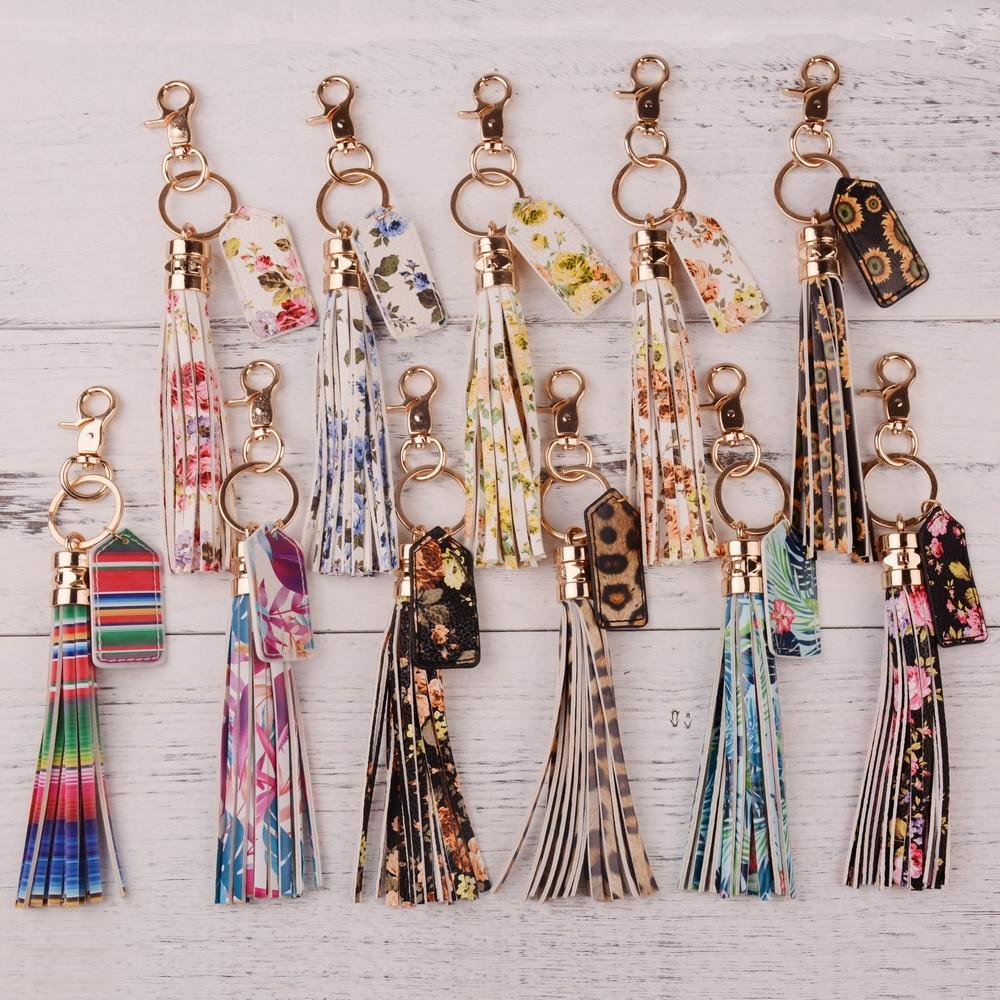 Rainbery 2020 Multicolor Monogram Leather Tassel Women Keychain Bag Pendant Alloy Car Key Chain Ring Holder Retro Jewelry