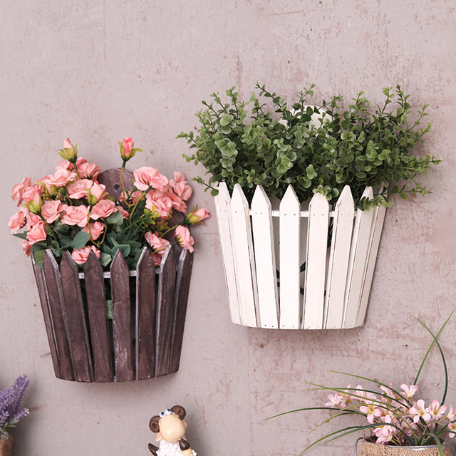 WCIC Retro Wood Frame Flower Basket Pot Pergola Fence-type Home Garden Balcony Metope Wall Mural Decorative Hanging Flowerpot