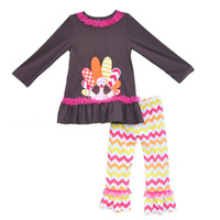Thanksgiving Day Baby Girls Clothes Set Big Turkey Top Colorful Chevron Pants With Lace Cheap Remake Wholesale Clothing T005