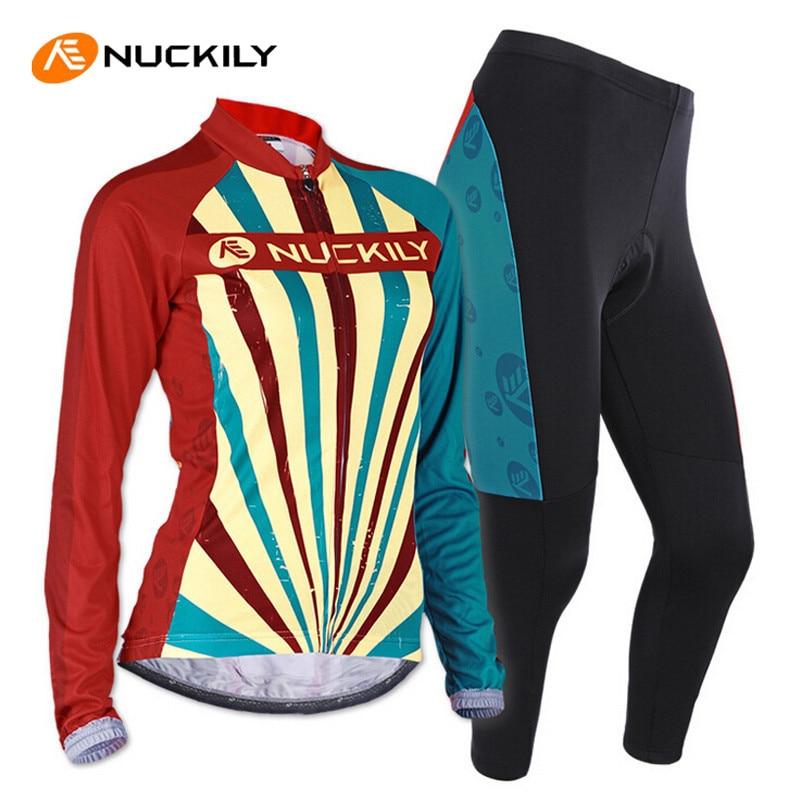 ФОТО NUCKILY Women Cycling Jersey Set Breathable Long Sleeve Jersey Bike Pants Outdoor Sport Roupa MTB Bike Bicycle Cycling Clothing