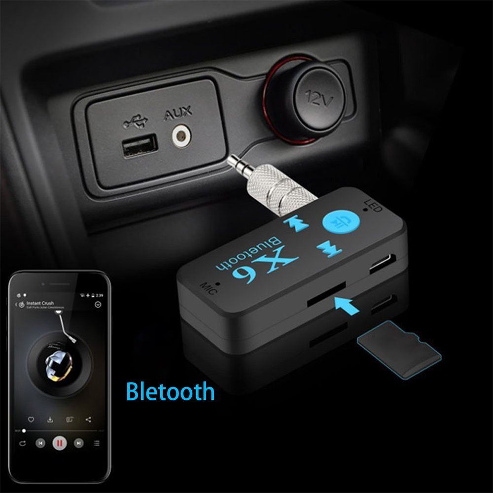 Bluetooth 4.1 Car Kit Wireless Bluetooth Aux Audio Music Receiver Adapter 3.5mm Interface Hands-free Call Support TF Card Play