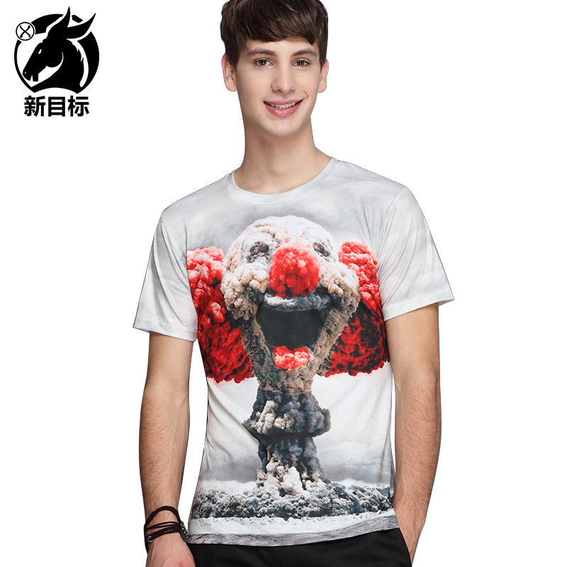Cross-border source factory cartoon printed t-shirts male amazon burst free T-shirt brand mens guanggu shan agent