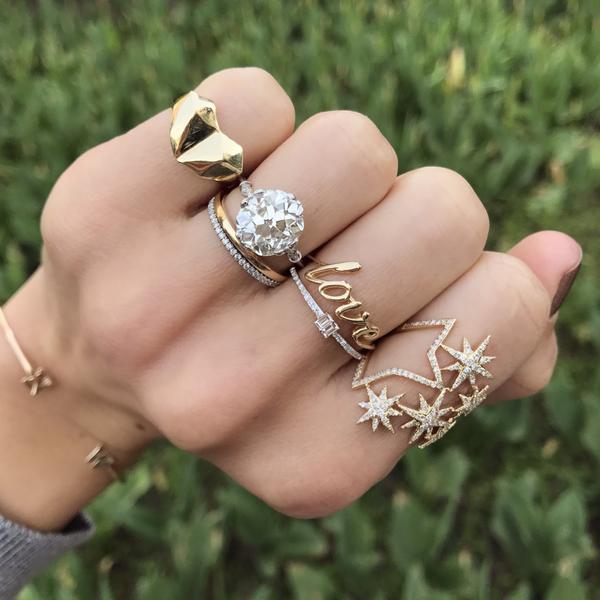 2018 Drop Verschiffen Fabrik Design Northstar Big Star Frauen Mädchen Schmuck Luxus Klar Zirkonia Cz Stern Ring Design Für Mädchen