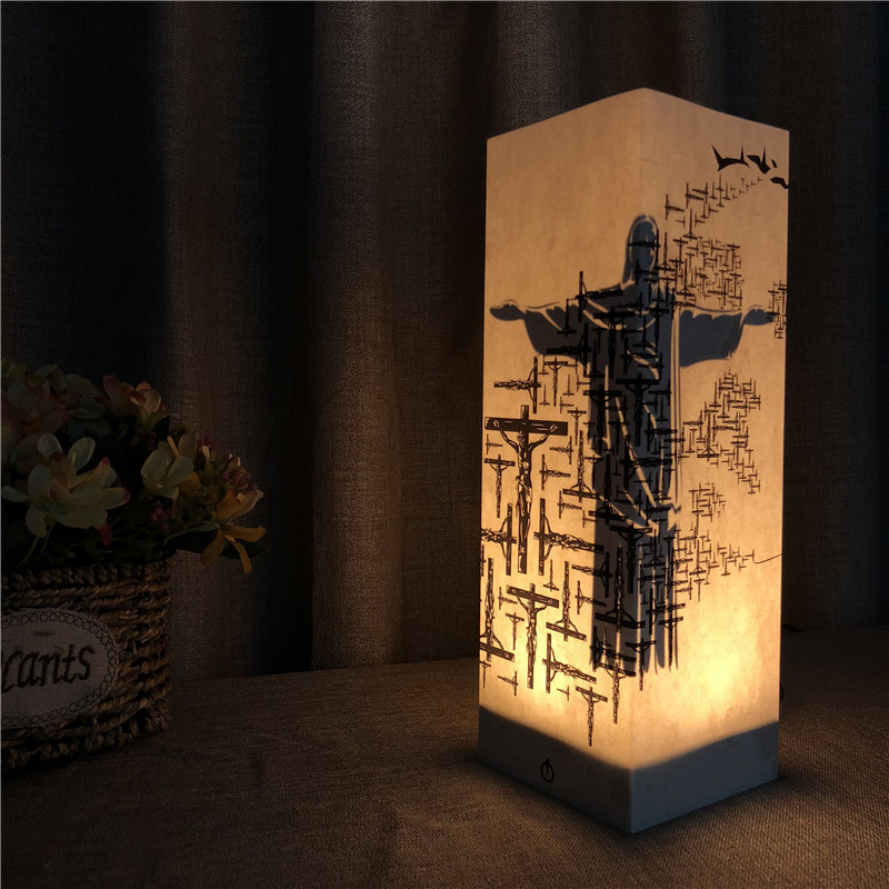 Sharelife Creative Warm White Jesus&Cross Paper Shadow USB Night Light Home Room Atmosphere Lamp Children's Birthday Gift 1068