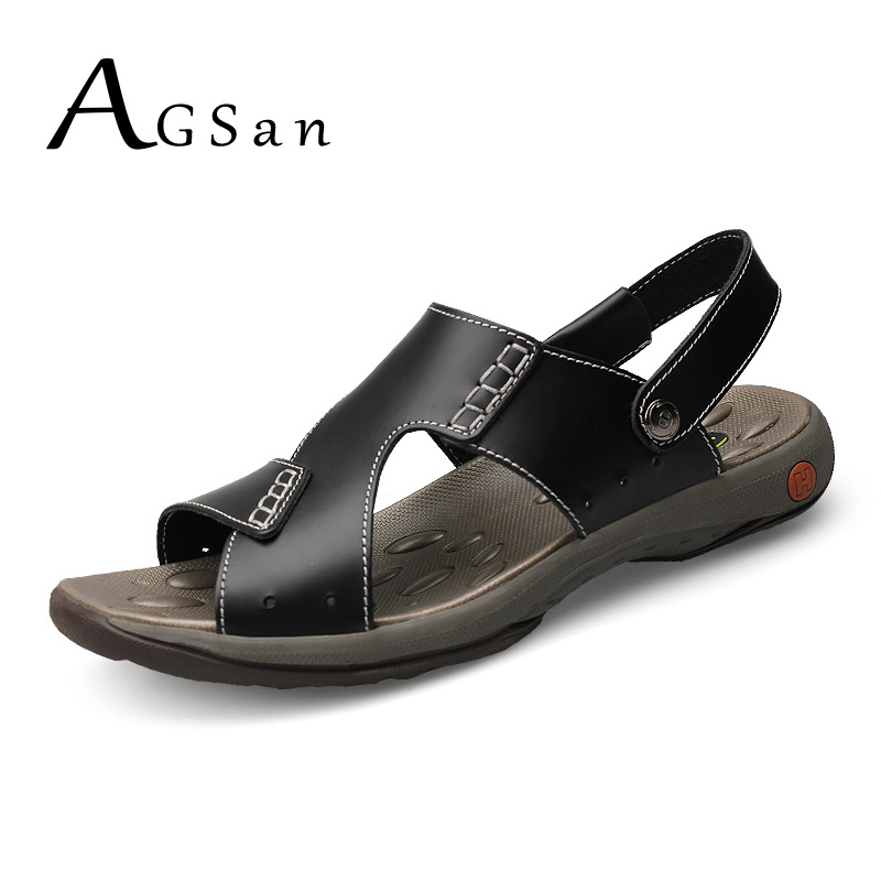 AGSan Men Sandals Black Genuine Leather Lovers Sandals Big Size 36-47 Summer Leather Slippers Brown Casual Sandals for Male