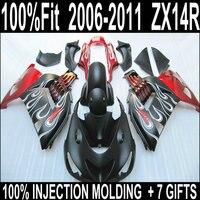 НОВЫЙ мотоцикл частей для 06 07 08 09 10 11 Kawasaki ZX 14R красный черный с белый пламя обтекателя комплект 2006 2011 Ninja zx14r + 7 подарки