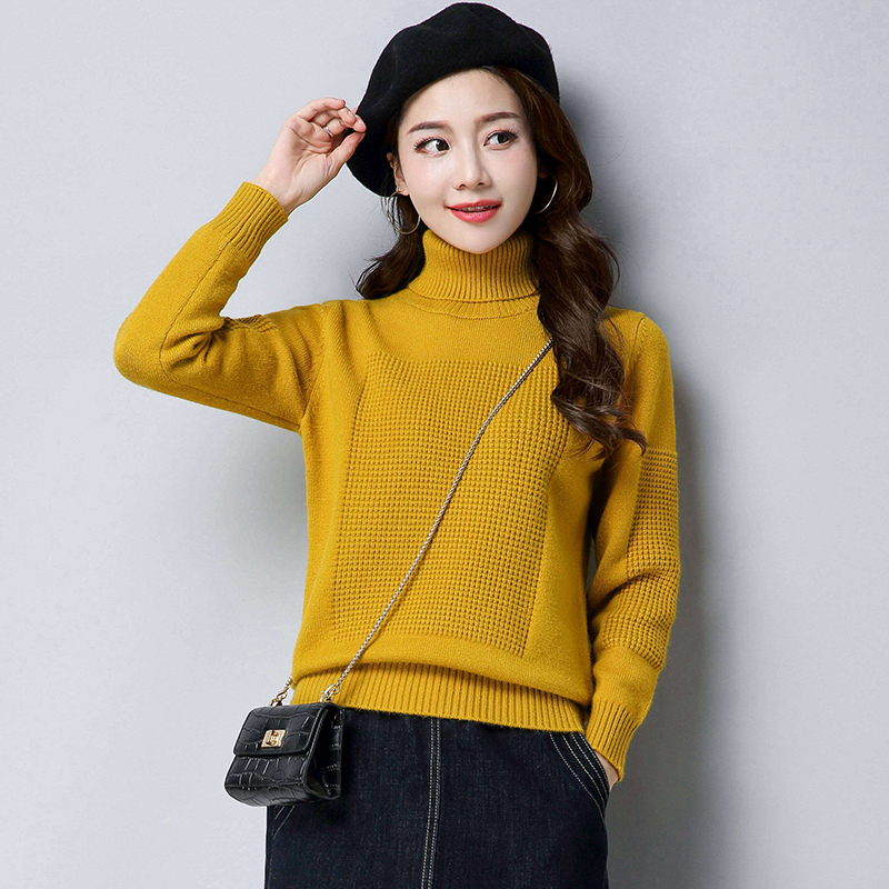 2019 Women's New Autumn And Winter Sweater High Collar Loose Solid Color Bottoming Sweater Long Sleeve Short Warm Sweater LQ180