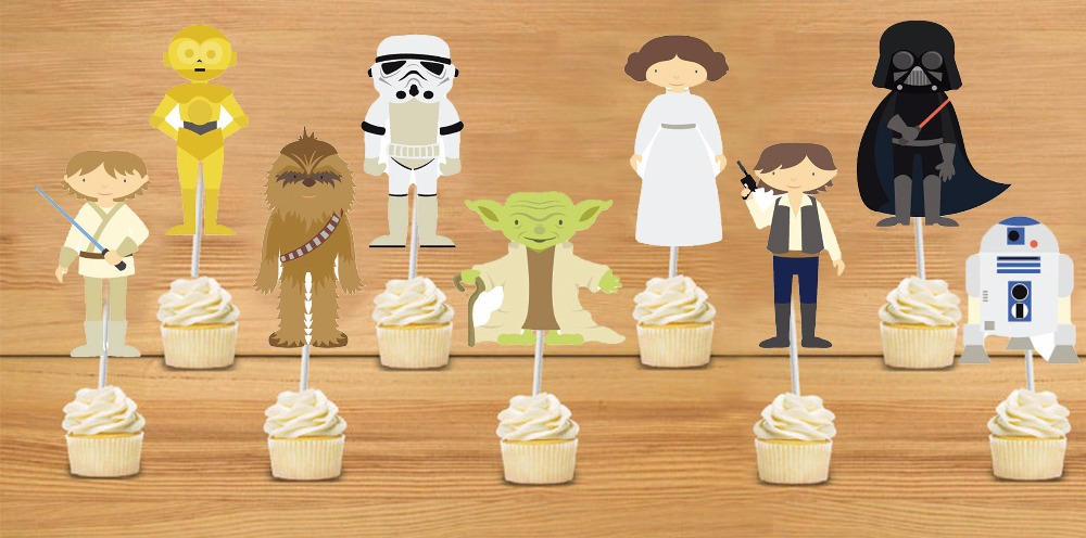 star wars cupcake toppers star wars birthday party decorations party supplies birthday party decorations kids - Star Wars Decorations