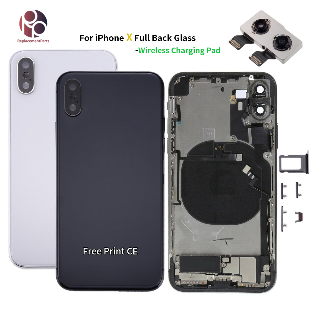 Support Wireless Charging Back Glass Housing for iphone X with Frame Chassis Full Assembly Battery Cover