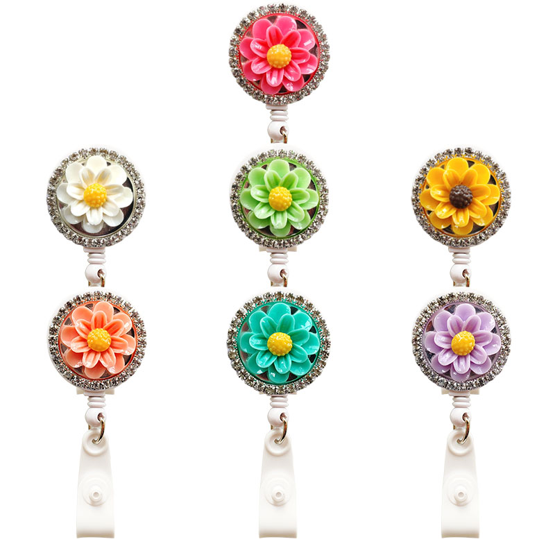 Resin Flower With Diamond Nursing Retractable Badge Holder Nurse Badge Holder Office Badge Reel Retractable For Work Badge Clip