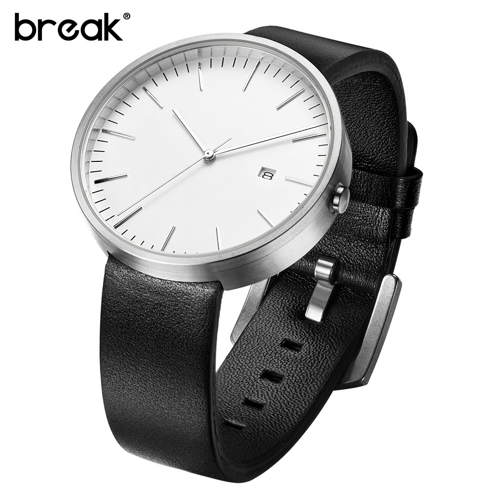 BREAK Clock Men Unisex Genuine Leather Strap Minimalist Fashion Casual Business Quartz Wrist Watches For Women Relogio Masculino bamboo wood watches for men and women fashion casual leather strap wrist watch male relogio