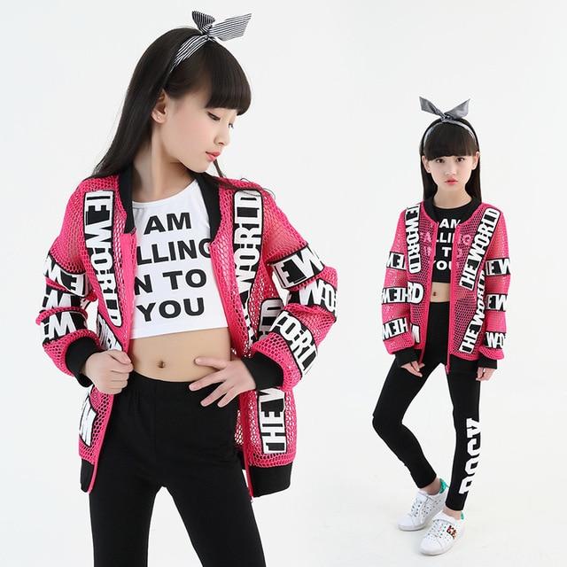 9deb005d5699 New Fashion Girls Hip Hop Dance Costume Performance Wear Jazz Sports ...