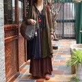 Novelty Retro Long One Button Color Block Patchwork Women Cotton Linen Coat, Vintage Double Layers Thick Dense Outerwear Trench
