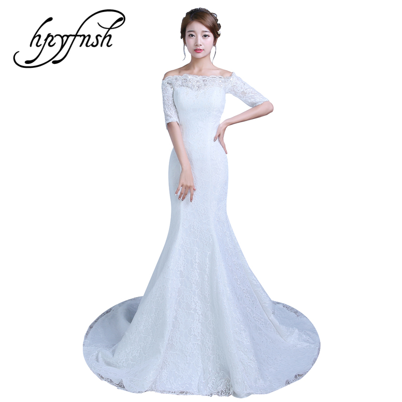 3 Style New Arrived Boat Neck Mermaid Off White Red Romantic Wedding Dress Lace Half Sleeve Vintage Turmpet Bride Gown Fashion