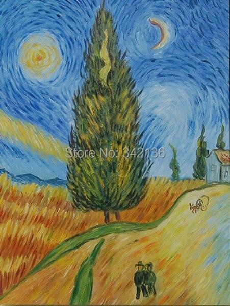 D corative peinture l 39 huile van gogh route de cypr s et toiles mur photos pour le salon mur - Peinture a l huile van gogh ...