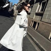 Дамы из натуральной овечьей кожи Тренч Для женщин из натуральной кожи длинное пальто мода натуральной овчины кожаные пальто