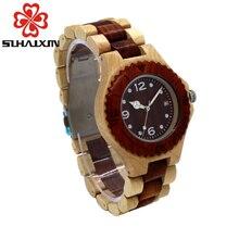 SIHAIXIN Relojes de Madera De madera de Las Mujeres relogio feminino top marca de lujo de reloj de Cuarzo Calendario Completo ultraligero muchachas Reloj