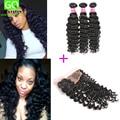 Freeshipping Human Hair Silk Base Lace Frontal Closure with 3/4 Bundles Peruvian Virgin Hair Deep Wave  Peruvian Curly Hair