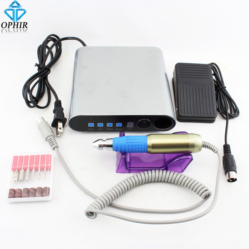 OPHIR Electric Nail Drill Machine Pedicure Manicure Machine Nail Art Equipment Kit Sanding Bands Drill Bits Set Nail Tools_KD142