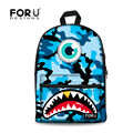 Classic Blue Green Camouflage Backpacks for Teenagers Boys Shoulder Backpacks Casual Canvas Men Pack Shark Tooth Travel Rucksack