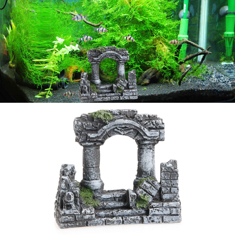 On sale resin rome square stone pillars aquarium for Outdoor fish tank for sale